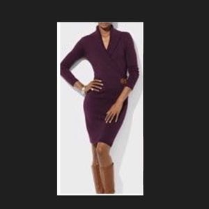 LRL Wrap Style Sweater Dress